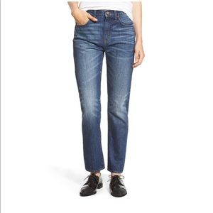 Madewell Straight Leg Ankle/Crop Jeans Distressed